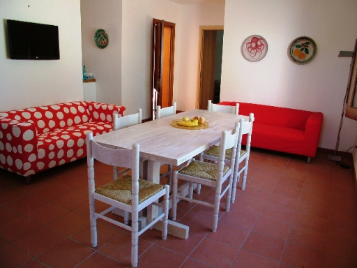 Vacation rental Sicily. Living room of Villa Acquamarina as seen when entering inside the villa. Holiday rental Scopello.